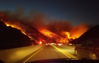 Fire spreading in Southern California
