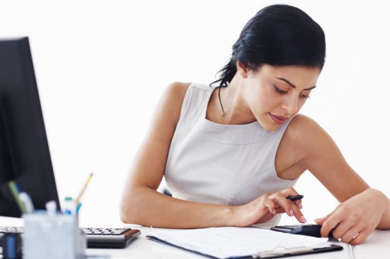 Accountant preparing taxes